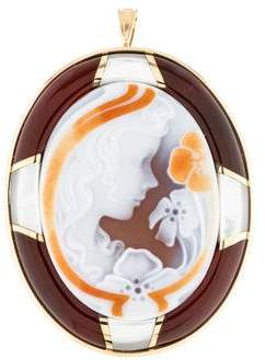 Mother of Pearl 18K Mother Of Pearl, Sardonyx & Carnelian Brooch Pendant