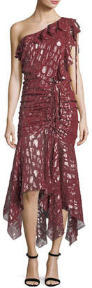 Veronica Beard Leighton One-Shoulder Metallic Silk Dress