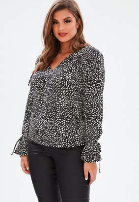 Missguided Curve Black Spot Print Ruffle Blouse