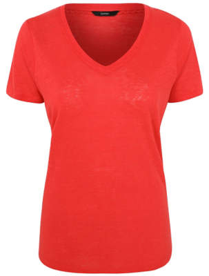 George Red Pure Linen V-Neck T-Shirt