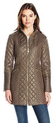 Via Spiga Women's Diamond Quilted Mid-Length Lightweight Jacket