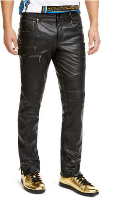 INC International Concepts I.n.c. Men Onyx Slim-Fit Leather Moto Pants