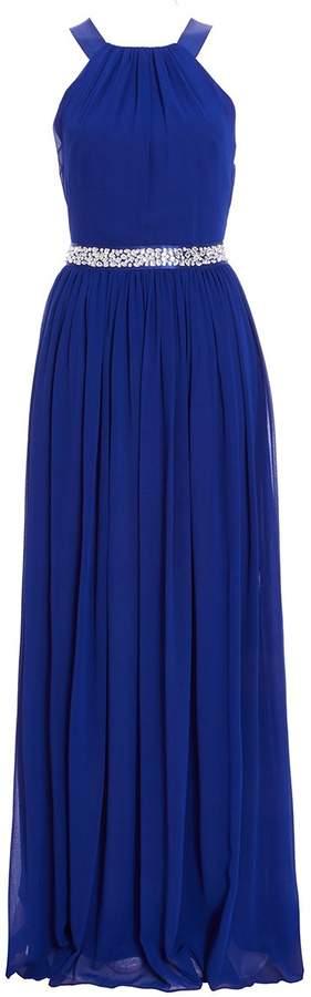 Royal Blue Chiffon Cross Back Maxi Dress