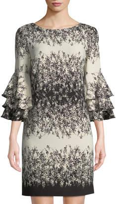 Chetta B Floral-Print Tiered-Sleeve Shift Dress