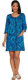 Denim & Co. Beach French Terry Cover-Up w/ SlitSleeve Detail
