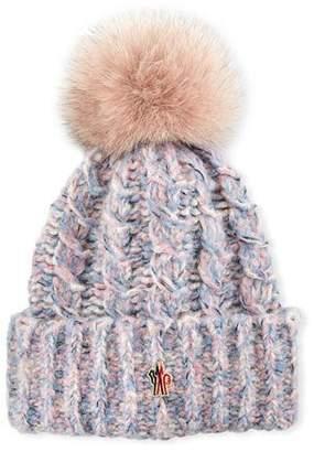 Moncler Tweed Beanie w/ Fur Pompom