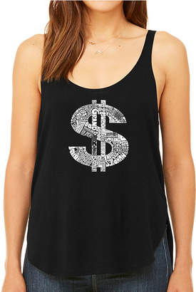 LOS ANGELES POP ART Los Angeles Pop Art Women's Premium Word Art Flowy Tank Top - Dollar Sign
