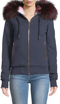 Moose Knuckles Fancy Bunny Hoodie Sweatshirt Jacket w/ Fur Trim & Hood