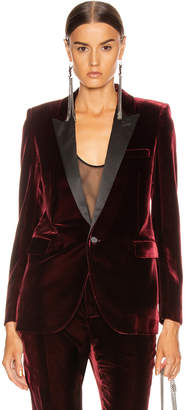Saint Laurent Tailored Blazer Jacket in Bordeaux | FWRD