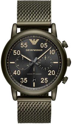 Emporio Armani Men Green Stainless Steel Mesh Bracelet Watch 43mm