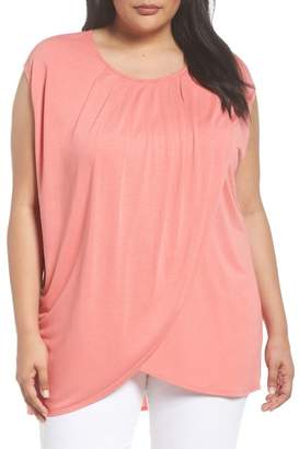 Sejour Pleated Cap Sleeve Tee (Plus Size)