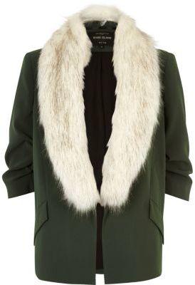 River IslandRiver Island Womens Khaki green faux fur open jacket