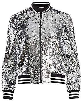 Alice + Olivia Women's Lonnie Sequin Cropped Bomber Jacket