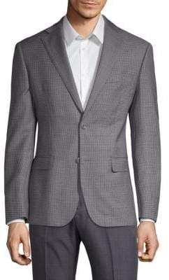 Michael Kors Classic-Fit Checked Wool Jacket
