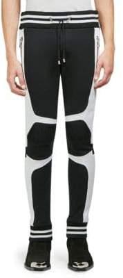 Balmain Stripe-Trimmed Cotton Moto Sweatpants