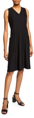 Eileen Fisher Washable Crepe V-Neck Sleeveless Pocket Dress