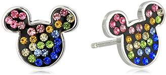 Disney Sterling Rainbow Crystal Mickey Stud Earrings