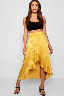 boohoo Satin Ruffle Thigh Split Maxi Skirt