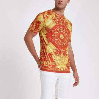 River Island Red baroque slim fit T-shirt