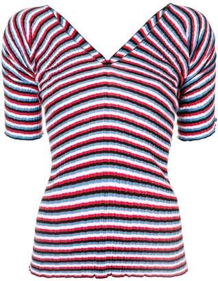 Sonia Rykiel striped micro-pleat T-shirt
