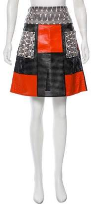 Proenza Schouler Snake-Trimmed Leather Skirt
