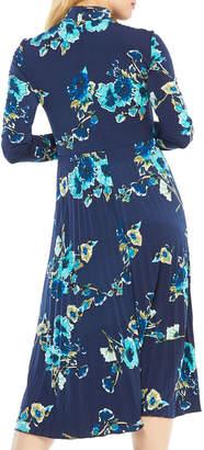 Maggy London Long-Sleeve Pleated-Skirt Floral-Print Matte Jersey Dress