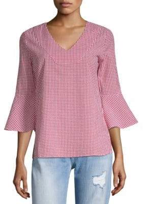 Bell-Sleeve Gingham Top