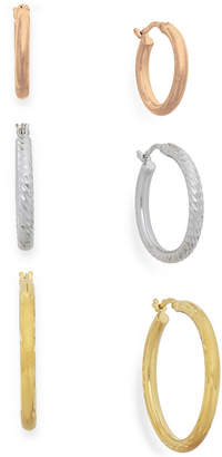 Macy's Tri-Tone Three-Hoop Set in 14k Gold Vermeil