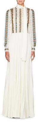 Valentino Long-Sleeve Embroidered Chiffon Dress with Pleated Cady Skirt