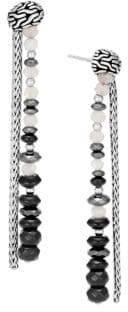 John Hardy Chain Silver& Milky Rainbow Moonstone, Onyx& Hematite Double Drop Earrings.