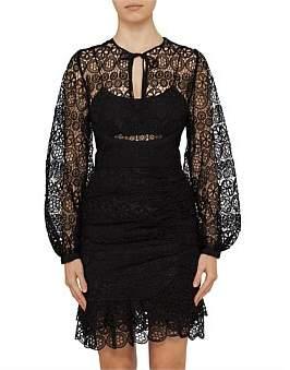 Self-Portrait Black Circle Floral Long Sleeve Lace Mini Dress