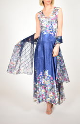 Komarov Floral Print Lace-Up Back Gown with Shawl