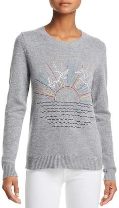 Aqua Sunset-Embroidered Cashmere Sweater - 100% Exclusive