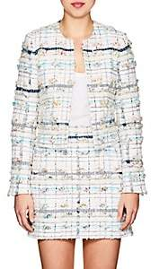 Thom Browne Women's Cotton-Blend Tweed Collarless Jacket - White