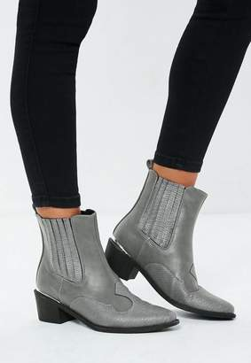 Missguided Gray Snake Print Western Heeled Ankle Boots
