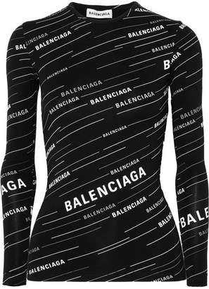 Balenciaga - Printed Stretch-jersey Top - Black