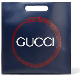 Gucci Xl Printed Leather Tote - Storm blue