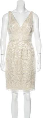 Carmen Marc Valvo Embellished Brocade Dress