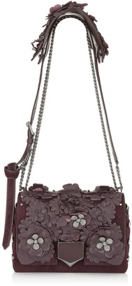 Jimmy Choo LOCKETT PETITE Burgundy Nappa Leather and Suede Shoulder Bag with Floral Applique