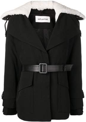 Self-Portrait short twill trench coat