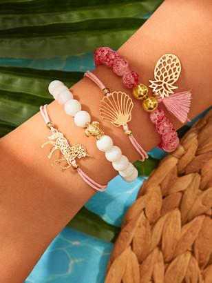 Shein Shell & Tassel Charm Bracelet 4pcs