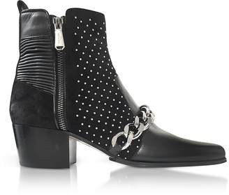 Balmain Black Leather Ella Studs Boots