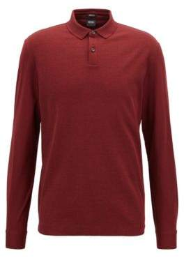 BOSS Hugo Regular-fit polo shirt in mercerized cotton micro-check pattern S Dark Red