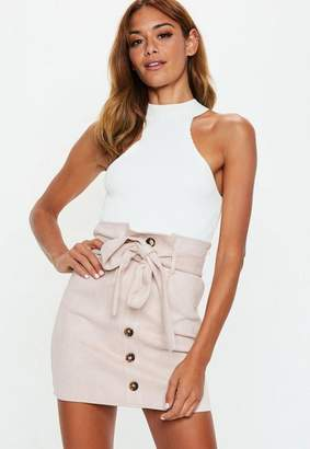 Missguided Blush Faux Suede Paperbag Waist Mini Skirt
