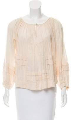 Rebecca Taylor Metallic Scoop Neck Blouse