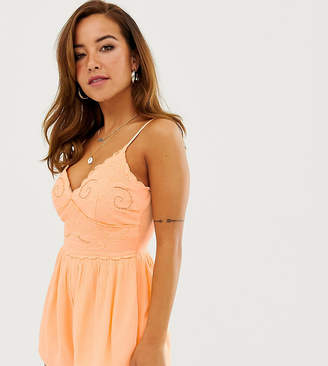Miss Selfridge Petite embroidered playsuit in peach