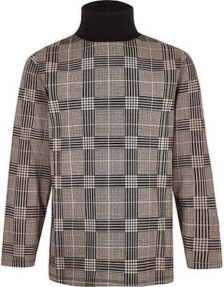 River Island Boys grey check roll neck top