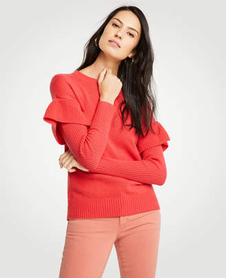 Ann Taylor Petite Flounce Sleeve Sweater