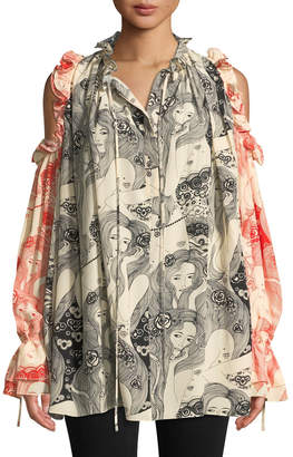 Alexander McQueen Eve-Print Tie-Neck Cold-Shoulder Bicolor Silk Peasant Blouse