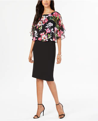 Connected Chiffon Popover Sheath Dress